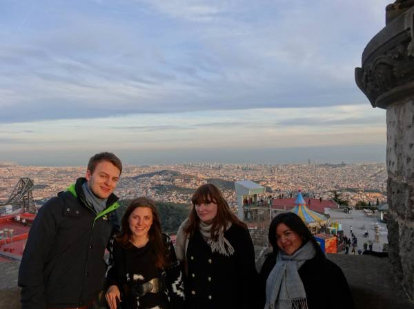 At the top of Mount Tibidabo looking out over Barcelona.